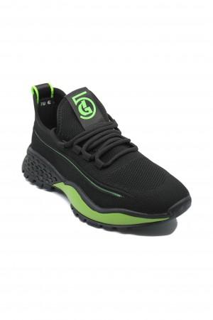 Pantofi sport Franco Gerardo Tendenza, negru cu verde, din material textil