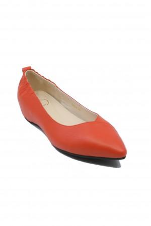 Balerini roșii cu călcâi elastic, din piele naturală