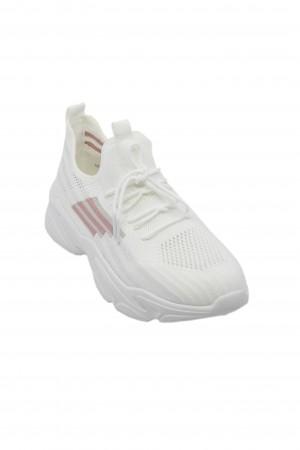 Sneakers damă albi de vară, din material textil
