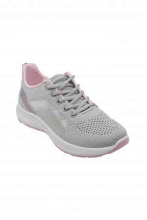 Sneakers damă gri cu roz, din material textil