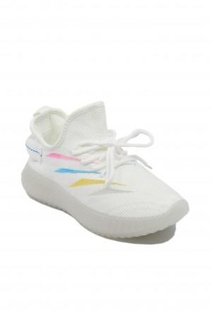 Sneakers damă albi, din material textil
