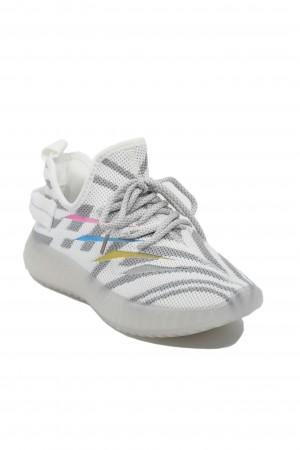 Sneakers damă albi cu gri, din material textil