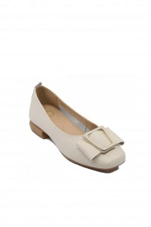 Pantofi damă crem cu fundiță, din piele naturală