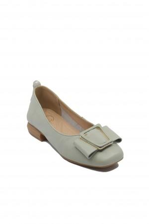 Pantofi damă light green cu fundiță, din piele naturală