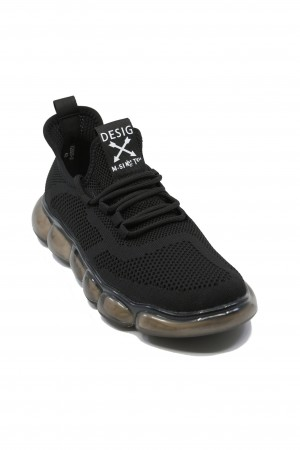 Pantofi sport negri Battisto Lascari, din material textil plasă