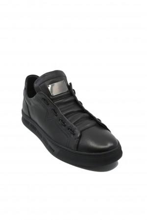 Pantofi sport slip-on, negri, din piele naturală
