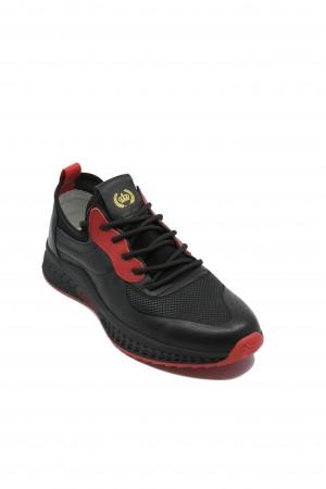 Pantofi sport Franco Gerardo negri cu roșu din piele naturală