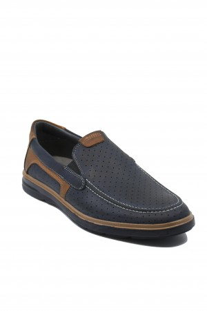 Pantofi slip-on bleumarin perforați din piele naturală