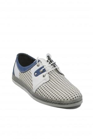 Pantofi casual alb cu bleumarin, din piele naturală