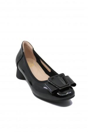 Pantofi damă negri din lac, cu fundiță și cataramă