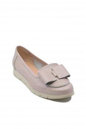 Pantofi Nadia, roz pudră, cu fundiță, din piele naturală