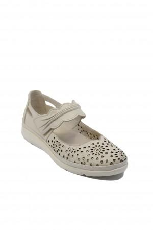 Pantofi damă gri deschis cu baretă, din piele naturală