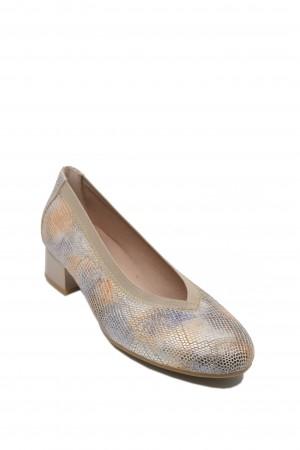 Pantofi damă nude cu imprimeu șarpe multicolor, din piele naturală