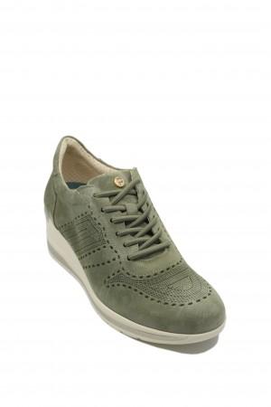 Pantofi damă oliv cu talpa înaltă, din piele întoarsă