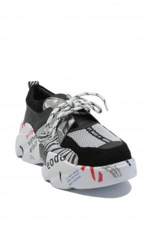 Pantofi sport damă ILI alb+zebră, din piele naturală