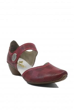 Pantofi damă decupați ultra-ușori roșu-grena din piele naturală