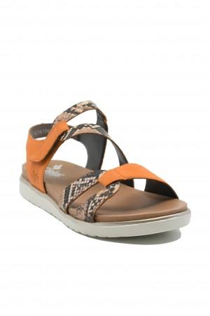 Sandale damă comode maro cu portocaliu, din piele naturală