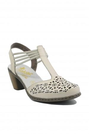 Pantofi damă decupați albi cu baretă T, din piele naturală