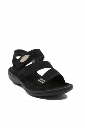 Sandale damă negre reglabile, din piele întoarsă