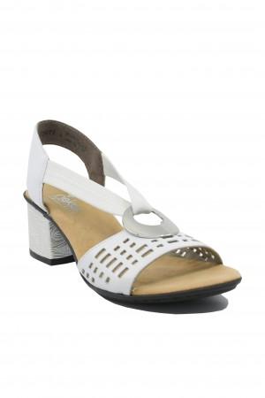 Sandale damă casual albe din piele naturală