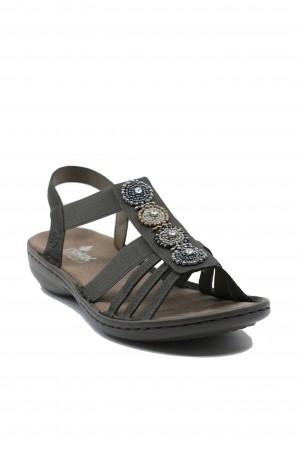 Sandale damă gri comode, cu barete elastice