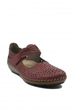Pantofi comozi damă grena din piele naturală