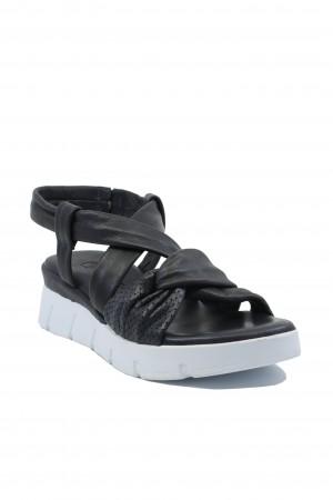 Sandale damă bleumarin cu platformă, din piele naturală moale