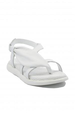 Sandale damă albe cu barete subțiri, din piele naturală