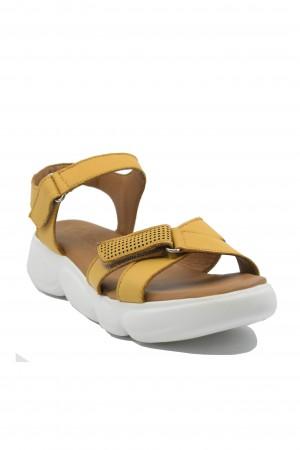 Sandale damă trendy apricot din piele naturală