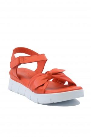 Sandale damă roșu corai cu platformă, din piele naturală moale