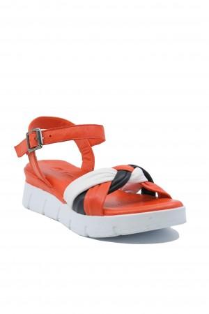 Sandale damă roșu corai platformă, din piele naturală moale