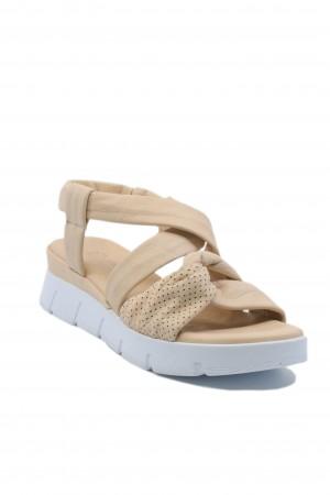 Sandale damă bej cu platformă, din piele naturală moale