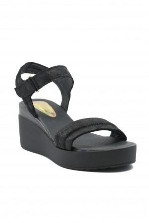 Sandale damă Ioana negru perlat din piele întoarsă