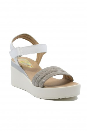 Sandale damă Ioana alb perlat și taupe din piele naturala