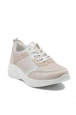 Pantofi sport damă roz sidefat, din piele naturală
