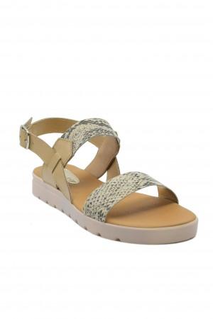 Sandale damă Aniss auriu șarpe din piele naturală