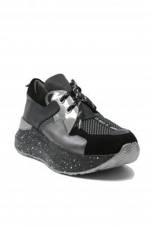 Pantofi sport damă ILI negri din piele naturală
