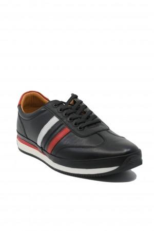 Pantofi casual sport bărbați, negri, din piele naturală