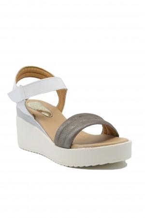 Sandale damă Ioana alb și taupe din piele naturala