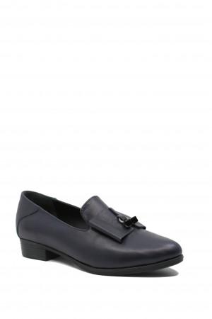 Pantofi damă bleumarin cu fundiță, din piele naturală
