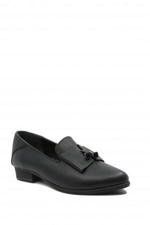 Pantofi damă negri cu fundiță, din piele naturală