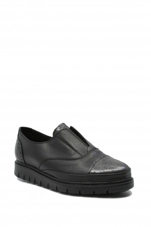 Pantofi damă slip-on negri din piele naturală