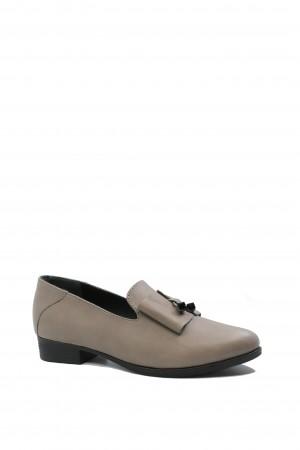 Pantofi damă gri cu fundiță, din piele naturală
