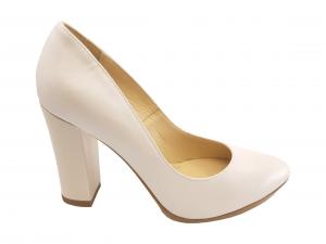 Pantofi damă alb sidefat din piele naturală