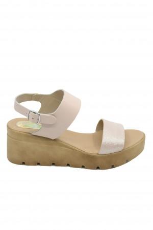 Sandale damă nude perlat cu platformă Lea