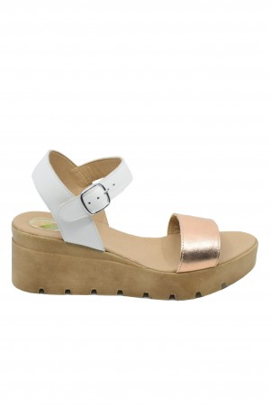 Sandale damă alb + bronz cu platformă Mara