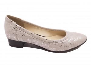 Balerini eleganți argintii din piele naturală