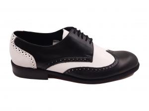 Pantofi Oxford negru cu alb din piele naturală