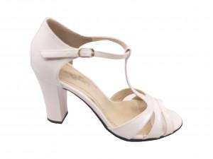 Sandale elegante albe din piele naturală