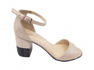 Sandale elegante argintii din piele naturală întoarsă